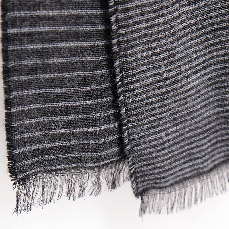 メンズ 大判ストール【ブラックグレー色・ファルダ/縞模様】60cm幅*190cm 長方形 イタリア製 秋冬向き