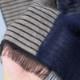 メンズ 大判ストール【ネイビーベージュ色・ファルダ/縞模様】60cm幅*190cm 長方形 イタリア製 秋冬向き
