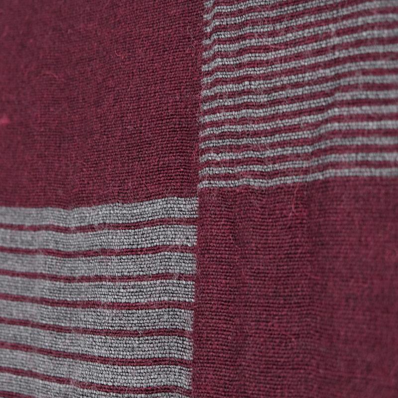 メンズ 大判ストール【ワイングレー色・ファルダ/縞模様】60cm幅*190cm 長方形 イタリア製 秋冬向き