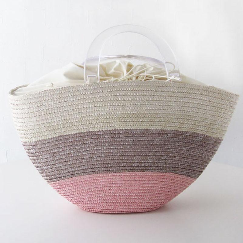 3トーンかごバック【展示品SALE】【ピンク】大人可愛い樹脂持ち手/イタリア製 夏 カゴバッグ