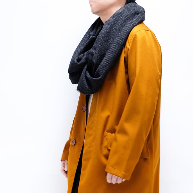大判ストール メンズ【ダークグレー色・ツイード】約60cm幅*200cm 長方形 イタリア製 秋冬向き