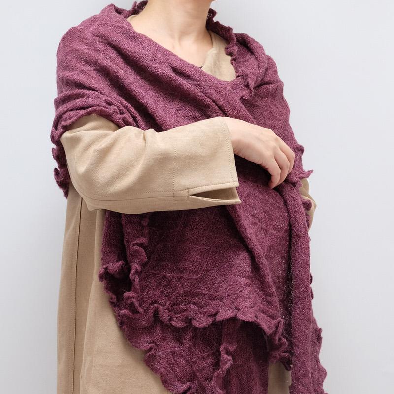ショール【剣先レース・ワイン色】イタリア製 女性用ショール 55*200cm/冬のレディースショール