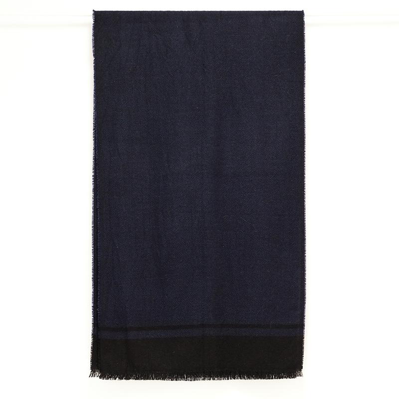 大判ストール メンズ【ネイビーブルー色・ツイード】約60cm幅*200cm 長方形 イタリア製 秋冬向き