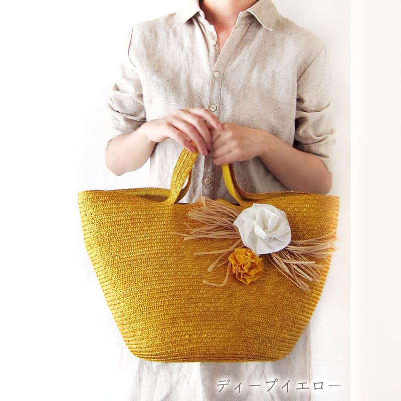 かごバック【SALE】リボンコサージュ付・夏に似合う快活なデザイン/イタリア製 夏 カゴバッグ