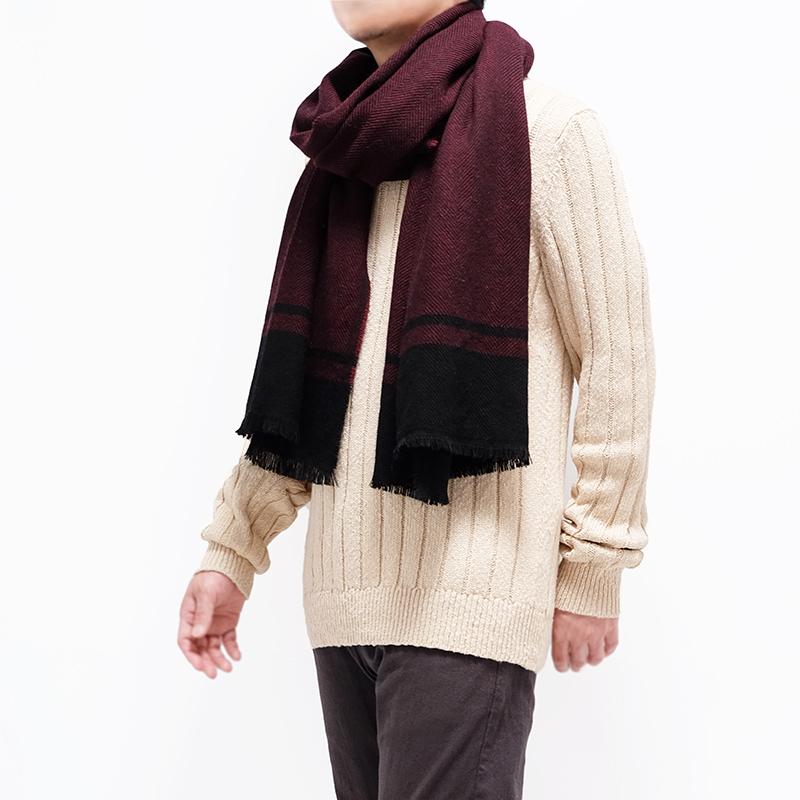 大判ストール メンズ【ワインレッド色・ツイード】約60cm幅*200cm 長方形 イタリア製 秋冬向き