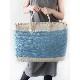 かごバック【SALE】フリル付長方形・ガーリィーな色合の大容量カゴバック/イタリア製 夏 カゴバッグ