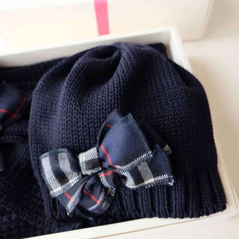 キッズ用ニット帽 リボン飾り付ブルー【6-8才サイズ】繊細メリノウール100%/イタリア製 秋冬 子供帽子
