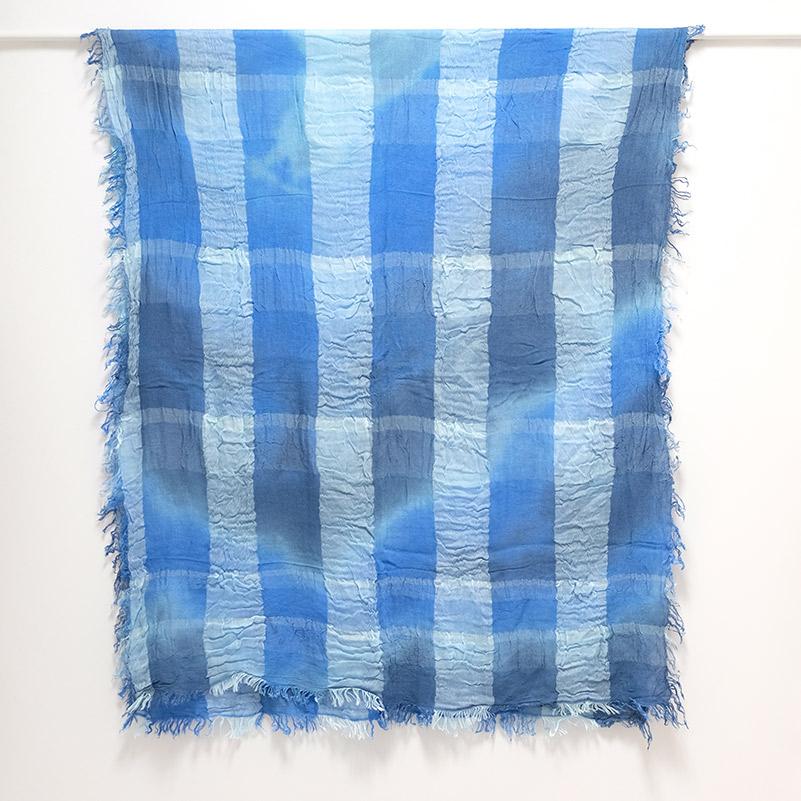 大判ストール むら染めブロックチェック【ブルー】羽織れる大判サイズ/イタリア製 80*180cm 1年中使えるストール