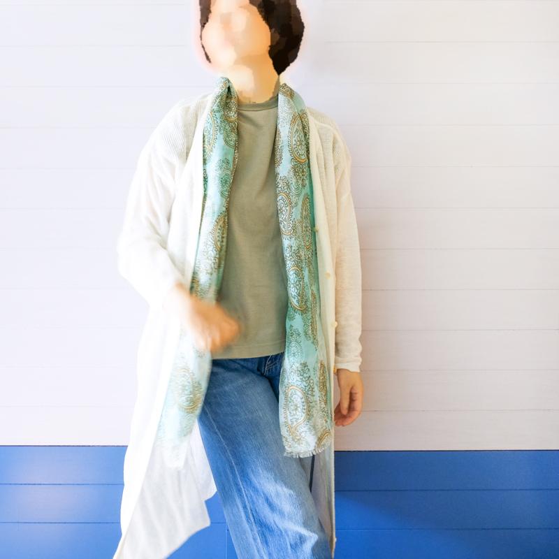ストール レディース 夏物【ペイズリー ミントブルー色】サマーストール リネン混  イタリア製45cm*180cm