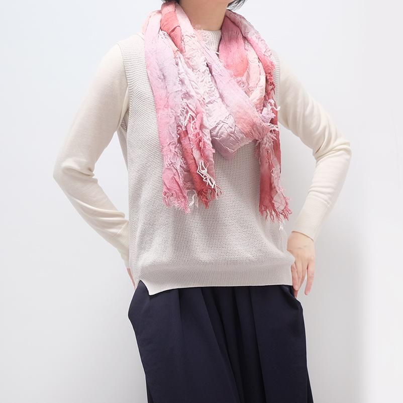 大判ストール むら染めブロックチェック【ピンク】男性女性兼用デザイン/イタリア製 80*180cm 1年中使えるストール