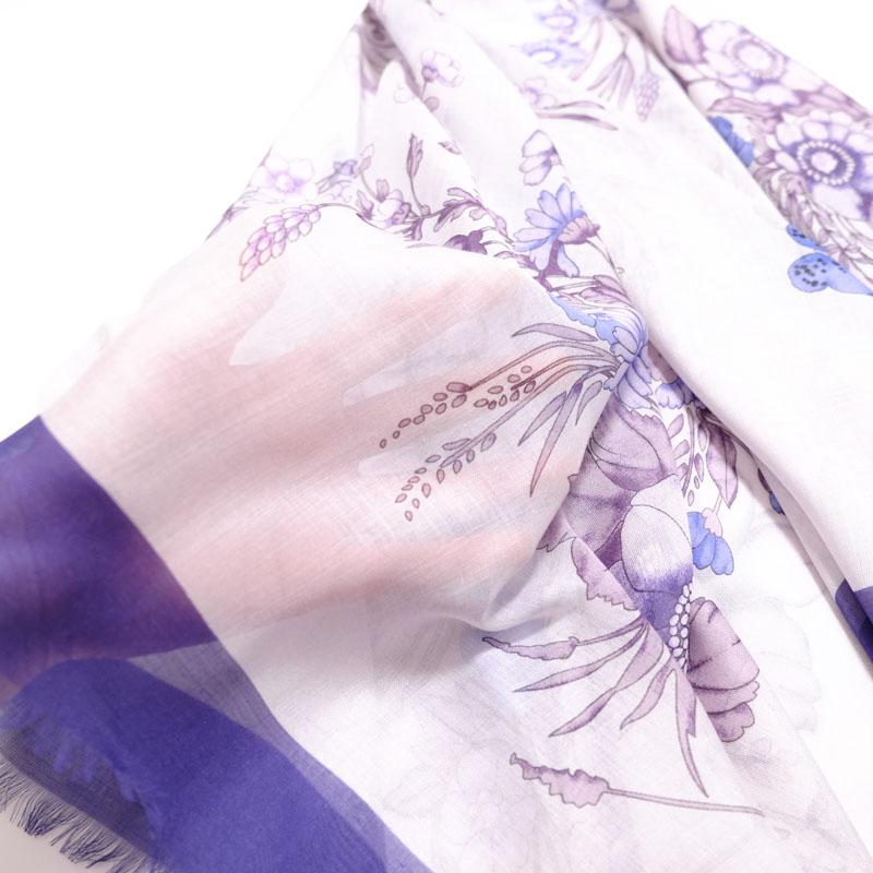 大判ストール レディース 春夏物 薄手【フラワーブーケ 青紫色】羽織れる 母の日ギフトにおすすめ シルクスカーフ四角形 イタリア製120cmスクエア