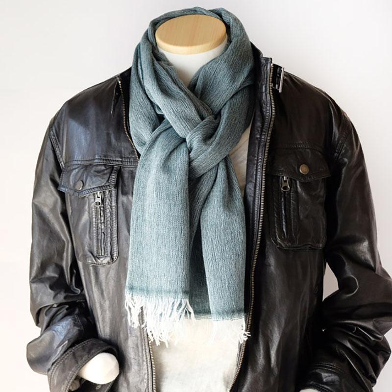 メンズストール 淡色シンプル無地【グリーン】ウール混・男性の通勤スーツやジャケットに/イタリア製 54*195cm 秋冬ストール