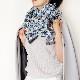 マフラー【SALE】 大人かわいい千鳥【サックスブルー】羽織れる&ひざかけになる厚手ウール混/イタリア製 43*210cm 秋冬マフラー