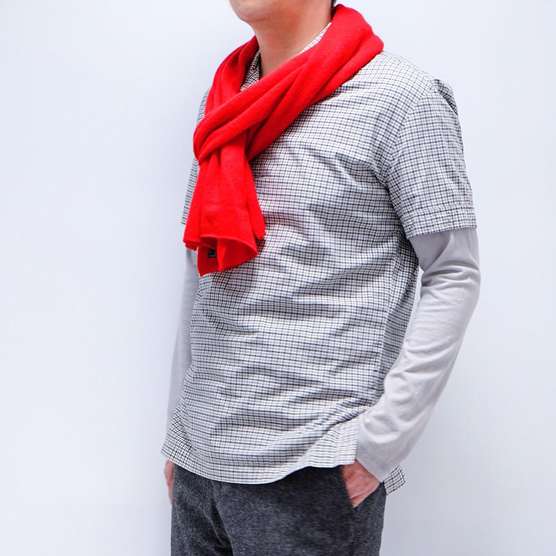 メンズマフラー カシミヤウール混【レッド】カシミアが得意なミラノのファクトリーブランド/32幅*190cm/男性マフラー