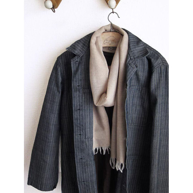 メンズストール 淡色シンプル無地【ベージュ】ウール混・男性の通勤スーツやジャケットに/イタリア製 54*195cm 秋冬ストール