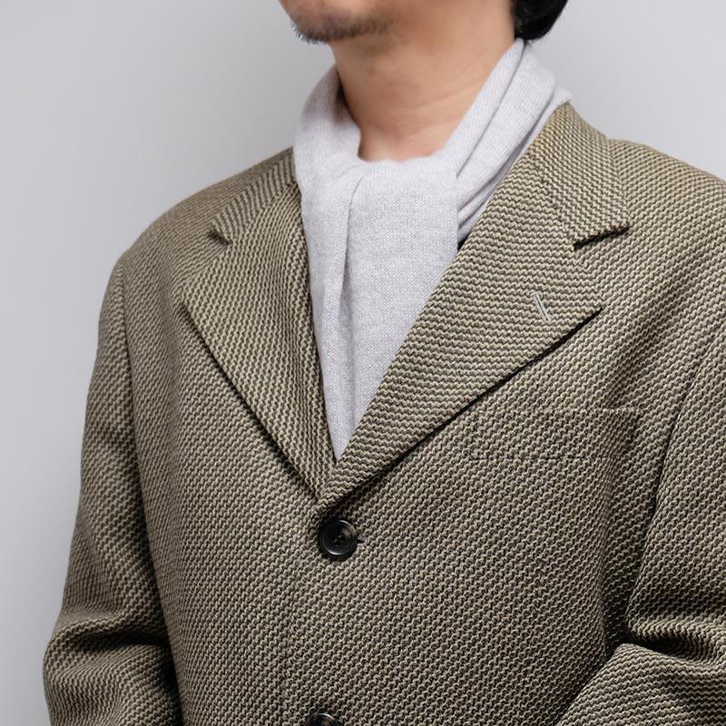 メンズマフラー カシミヤウール混【ライトグレー】カシミアが得意なミラノのファクトリーブランド/32幅*190cm/男性マフラー