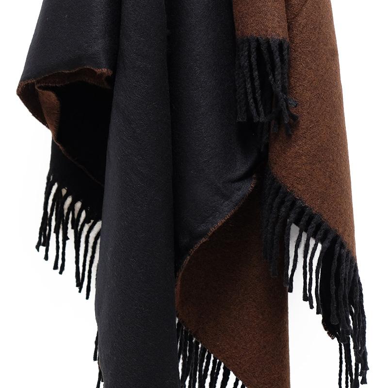 ポンチョ ショール【ブラック/ブラウン】軽くて柔らか上質アクリル100%・羽織れる&室内で着る毛布になル イタリア製大判ストール 145*170cm/春,秋冬ポンチョ