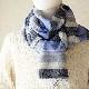 メンズストール 淡色ボーダー【ブルー】ウール混・マフラーのように使える薄手ストール/イタリア製 54*190cm 秋冬ストール