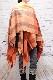 ポンチョ ショール【ブロックチェック・オレンジ】軽くて柔らか上質アクリル100%・羽織れる&室内で着る毛布になル イタリア製大判ストール 145*180cm/春,秋冬ポンチョ