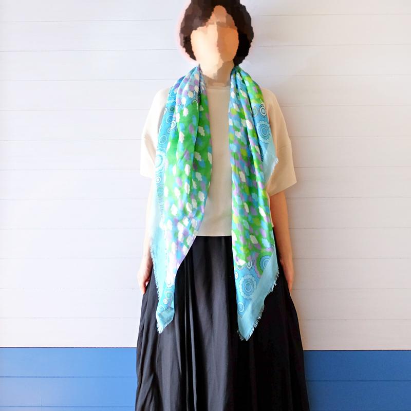 大判スカーフ レディース 春夏物 薄手【花火 ブルーグリーン色】羽織れる 母の日ギフトにおすすめ シルクストール正方形 イタリア製120cmスクエア