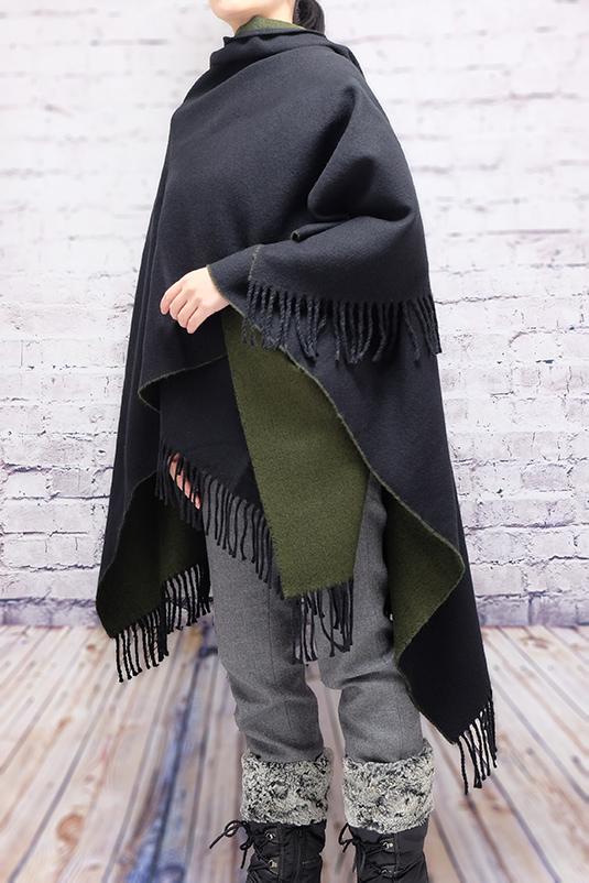 ポンチョ ショール【ブラック/カーキ】軽くて柔らか上質アクリル100%・羽織れる&室内で着る毛布になル イタリア製大判ストール 145*170cm/春,秋冬ポンチョ