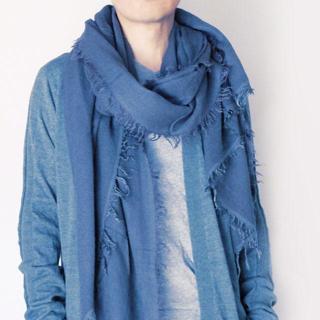 メンズストール モードな大判無地【ブルー】ウールモヘア混・コートやカーディガンに似合う/イタリア製 92*192cm 秋冬ストール