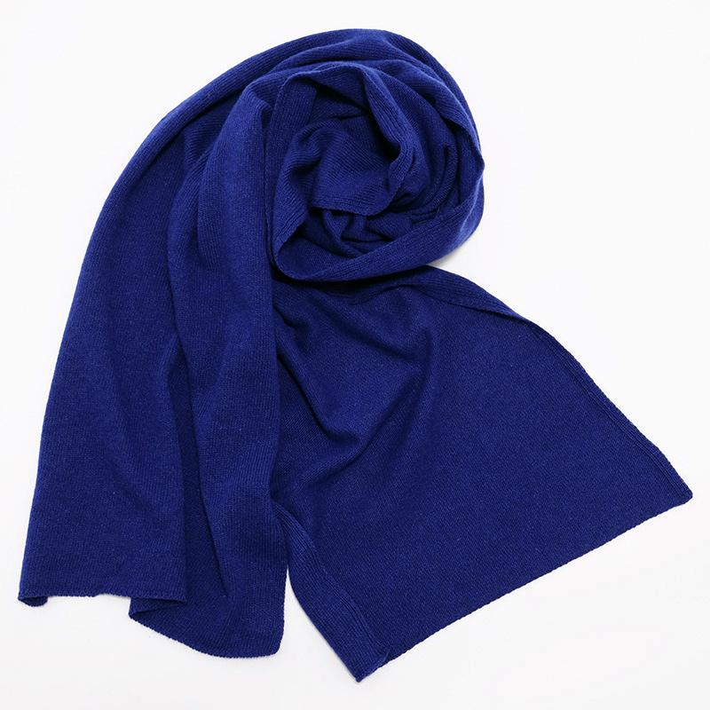 メンズマフラー カシミヤウール混【new ブルー】カシミアが得意なミラノのファクトリーブランド/32幅*190cm/男性マフラー
