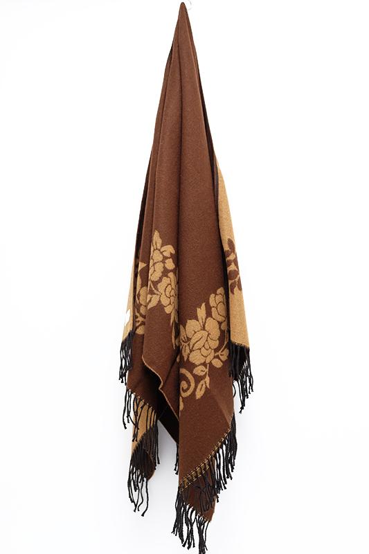 ポンチョ ショール【つた・ブラウン】軽くて柔らか上質アクリル100%・羽織れる&室内で着る毛布になル イタリア製大判ストール 145*180cm/春,秋冬ポンチョ