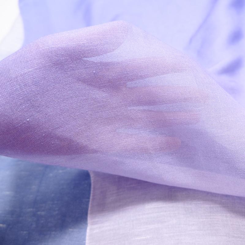 大判ストール レディース 夏物【グラデーション ブルーパープル色】さらさらリネンストール 大判 イタリア製70cm*200cm
