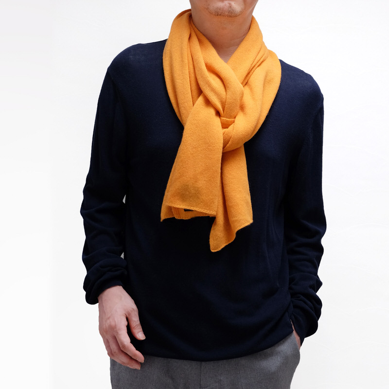 メンズマフラー カシミヤウール混【オレンジ】カシミアが得意なミラノのファクトリーブランド/32幅*190cm/男性マフラー