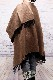 ポンチョ ショール【ブラウン/グレー】軽くて柔らか上質アクリル100%・羽織れる&室内で着る毛布になル イタリア製大判ストール 145*170cm/春,秋冬ポンチョ