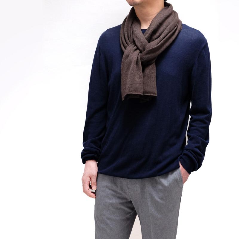 メンズマフラー カシミヤウール混【ブラウン】カシミアが得意なミラノのファクトリーブランド/32幅*190cm/男性マフラー