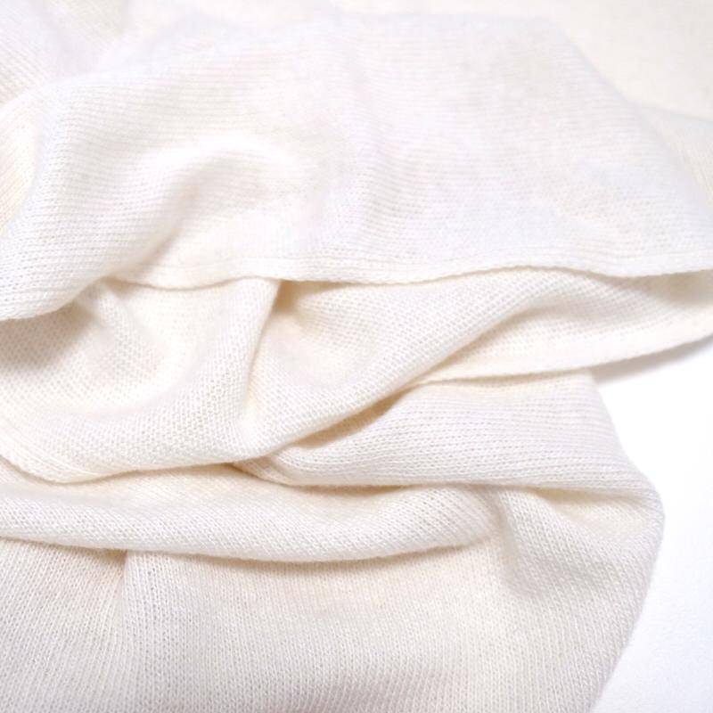 マフラー カシミヤウール混【オフホワイト】カシミアが得意なミラノのファクトリーブランド/32幅*190cm/レディースマフラー