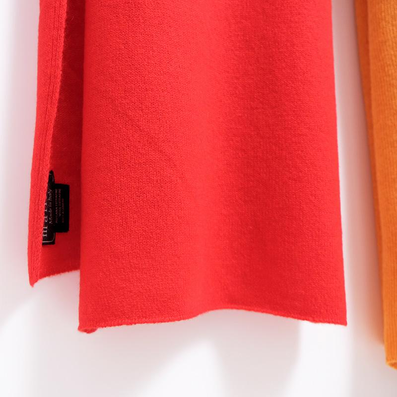 マフラー カシミヤウール混【レッド】カシミアが得意なミラノのファクトリーブランド/32幅*190cm/レディースマフラー