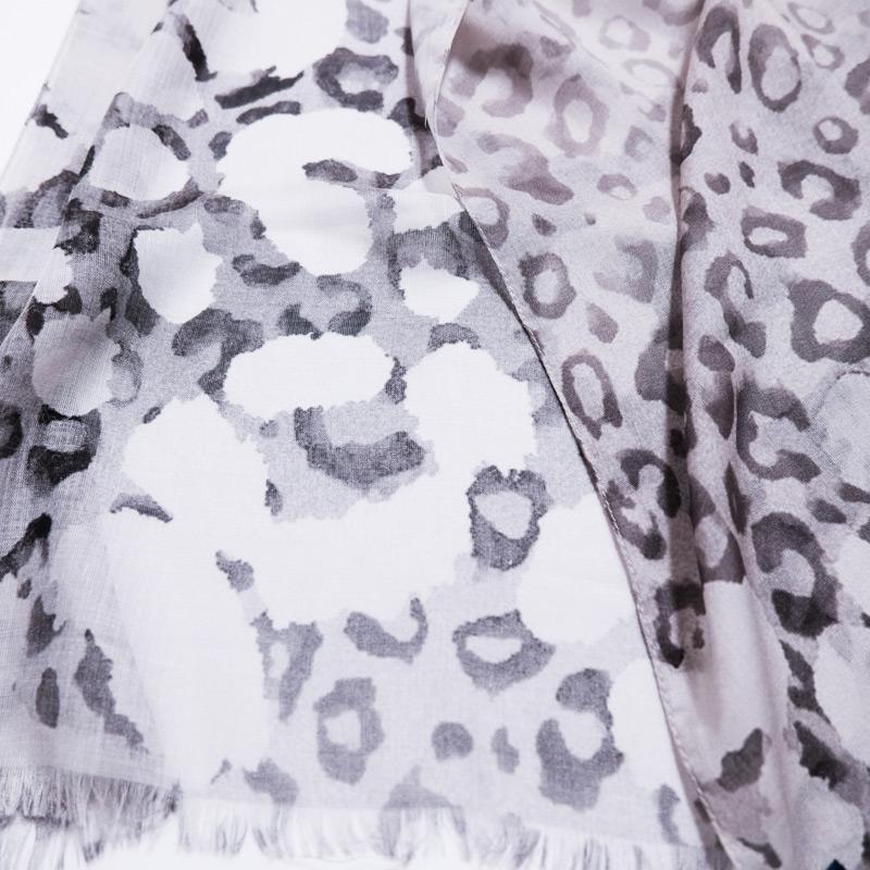 ストールレディース 春夏物【SALE レオパード グレー色】薄手 大判ストール 女性 イタリア製70cm*200cm