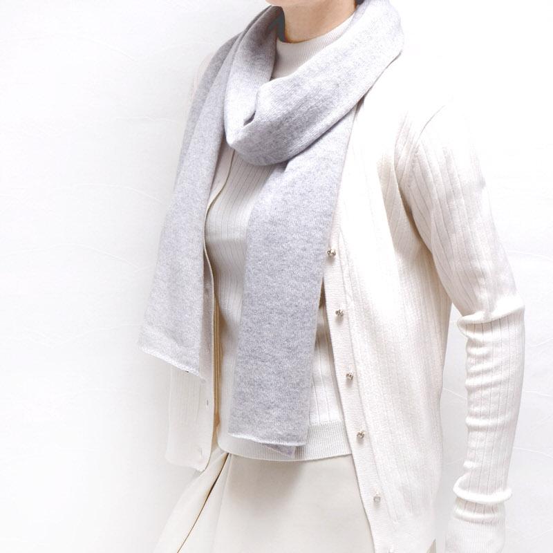 マフラー カシミヤウール混【ライトグレー】カシミアが得意なミラノのファクトリーブランド/32幅*190cm/レディースマフラー