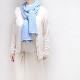 マフラー カシミヤウール混【ライトブルー】カシミアが得意なミラノのファクトリーブランド/32幅*190cm/レディースマフラー