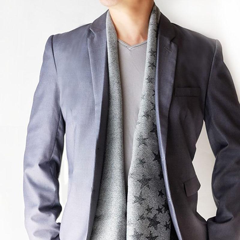 メンズマフラー 星柄リバーシブル【グレー】バージンウール混・薄手でやわらか/イタリア製 40*180cm 秋冬マフラー