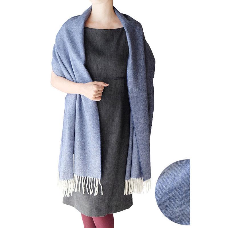 マフラー ふかふか柔らかヘリンボーン【ブルー】上質ウール100%・羽織れるゆったりサイズ/イタリア製 50*200cm 秋冬マフラー