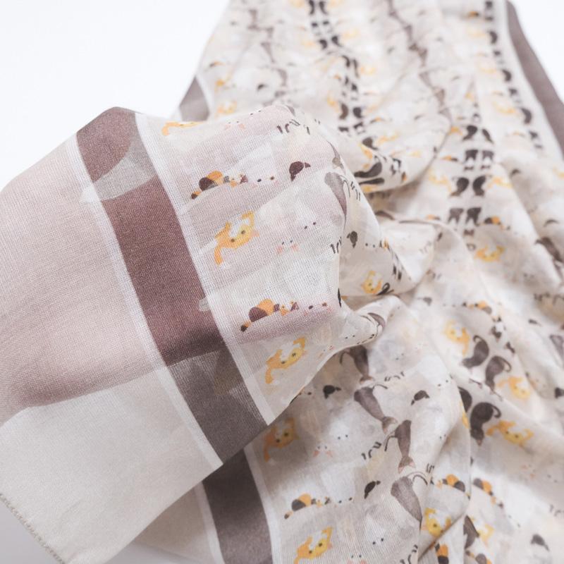 ストール イタリア製 カシミヤ混【ねこ 猫柄 ベージュ系】秋冬-春物 ほんのり暖か薄手大判ストール 羽織れる 長方形70*200cm