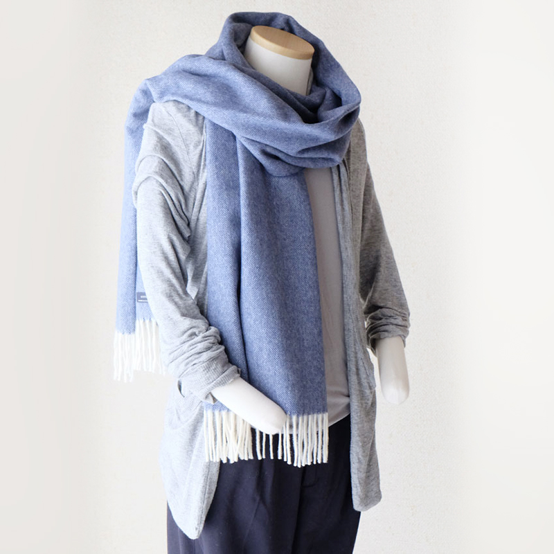 メンズマフラー ふかふかウール100%ヘリンボーン【ブルー】とても柔らか・大きめサイズ/イタリア製 50*200cm 秋冬マフラー