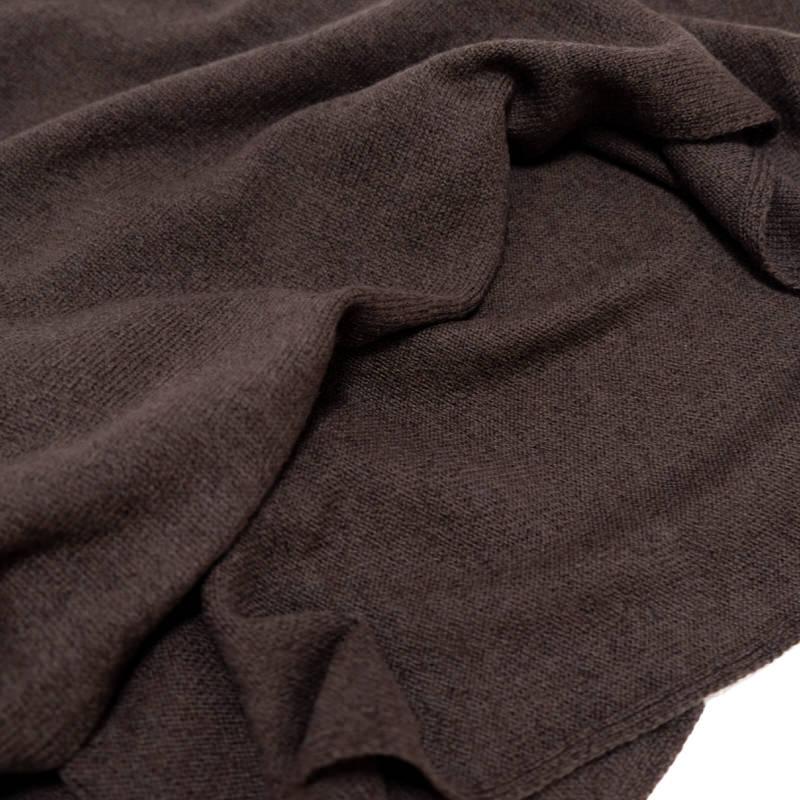 マフラー カシミヤウール混【ブラウン】カシミアが得意なミラノのファクトリーブランド/32幅*190cm/レディースマフラー