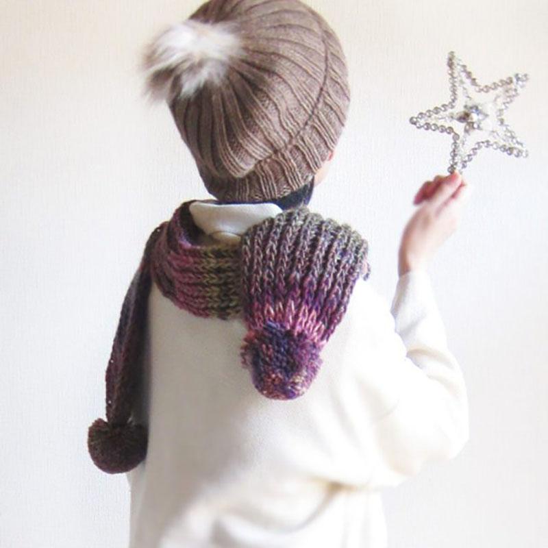 ニットマフラー ポンポン付き【ミックスカラー】ウール混中太の毛糸が可愛い/イタリア製 15*175cm 秋冬マフラー
