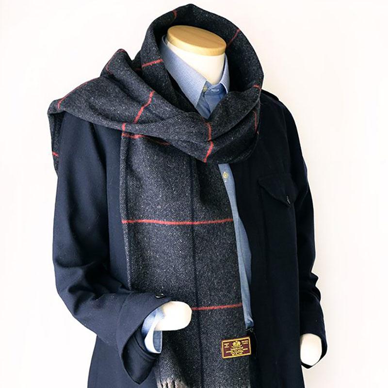 メンズマフラー 知的な格子柄【ブラックネイビー】羊毛100%・ふっくらラムズウール/イタリア製 38*188cm 秋冬マフラー