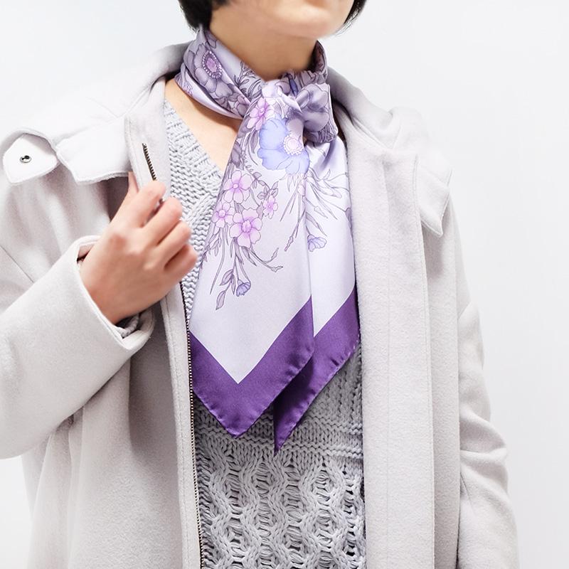 スカーフ【パープル・フラワーブーケ】88cm正方形/イタリア製 春夏スカーフ・1年中使える正統派シルクツイル