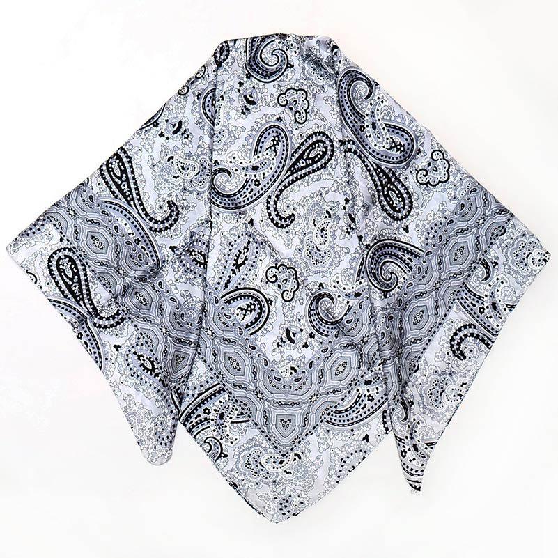 スカーフ【ブラック・ペイズリー】84cm正方形/イタリア製 春夏スカーフ・柔らかなジャガード織りにプリント