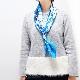 スカーフ イタリア製【ブルー・ジャルディーノ】88cm正方形/春夏スカーフ・1年中使える正統派シルクツイル