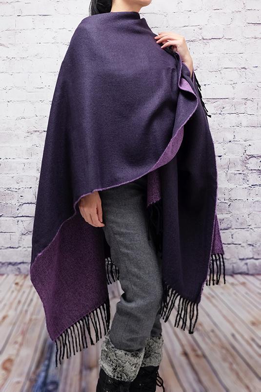 ポンチョ ショール【パープル濃淡】軽くて柔らか上質アクリル100%・羽織れる&室内で着る毛布になル イタリア製大判ストール 145*170cm/春,秋冬ポンチョ