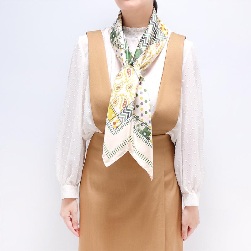 スカーフ イタリア製【グリーン・ジャルディーノ】88cm正方形/春夏スカーフ・1年中使える正統派シルクツイル