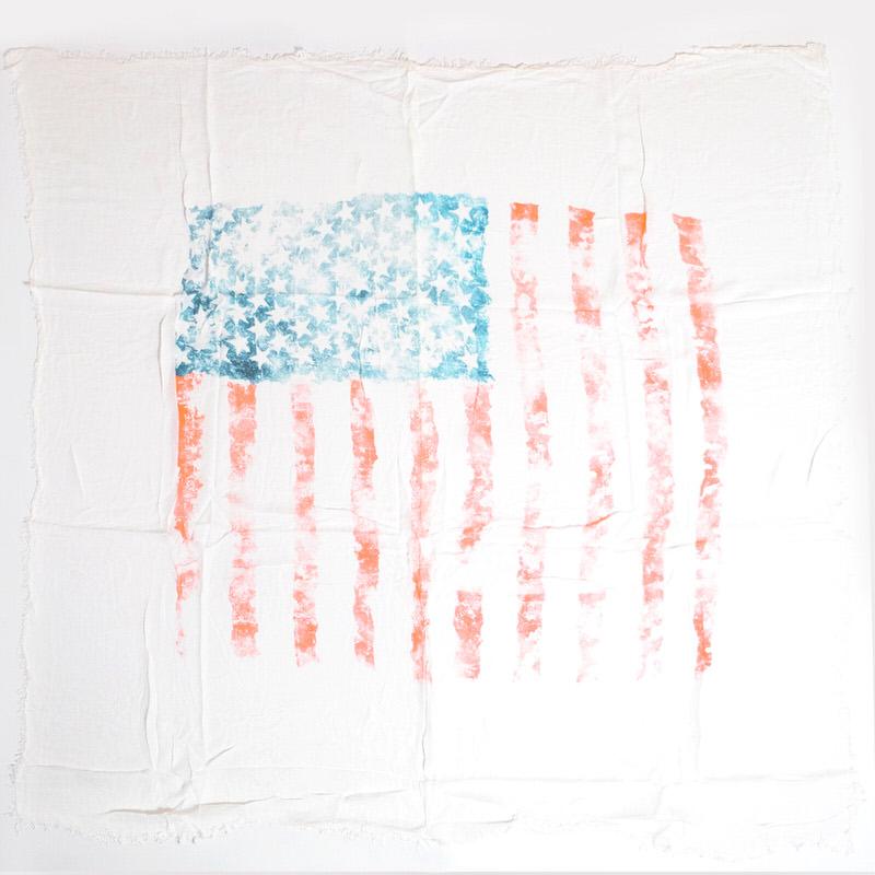 メンズストール アメリカ【ホワイト】ビスコース くたっと柔らか/イタリア製 130cm角 1年中使えるストール